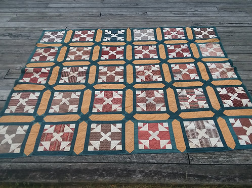Quilt - Night & Day, Pieced Calico c1875