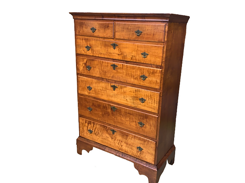 Queen Anne tiger maple tall chest