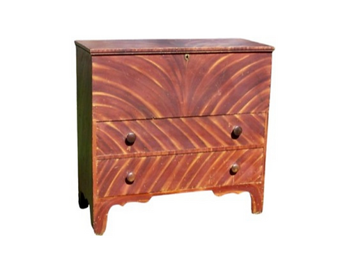 FEDERAL HEPPLEWHITE GRAIN PAINT DECORATED BLANKET CHEST