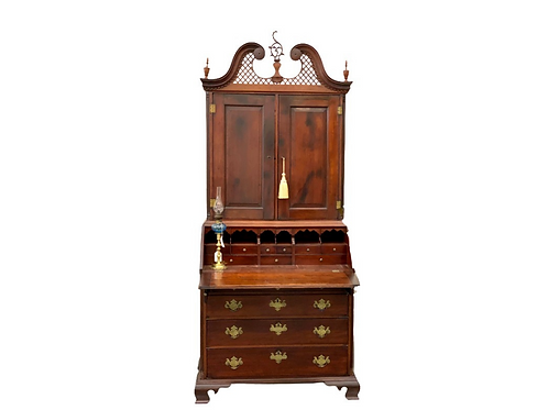 Connecticut Chippendale carved cherry secretary desk