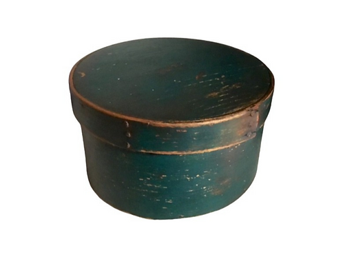 Round painted blue green pantry box