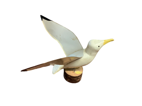 Carved folk art painted seagull