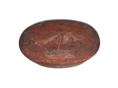 Salmon paint decorated oval pantry box