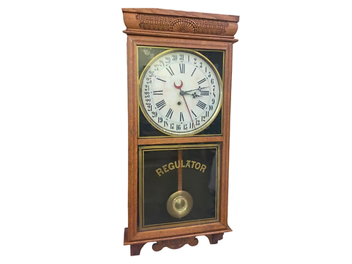 Welch hanging Oak Regulator calendar clock