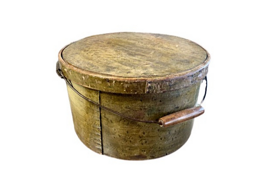Round painted pantry box withbail handle C. 19th.