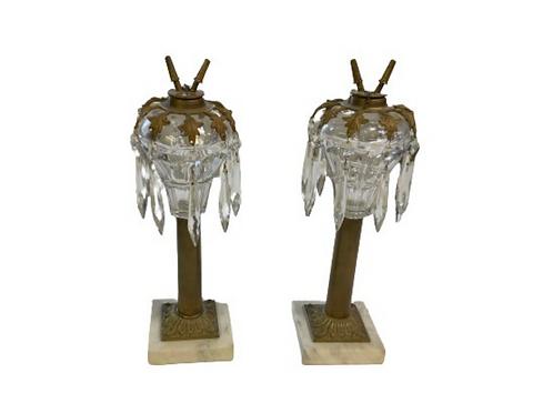 Pr. of Sandwich glass whale oil lamps