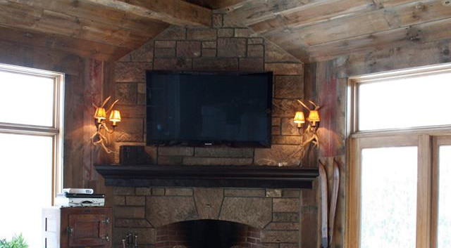 Barnwood siding used as ceiling material