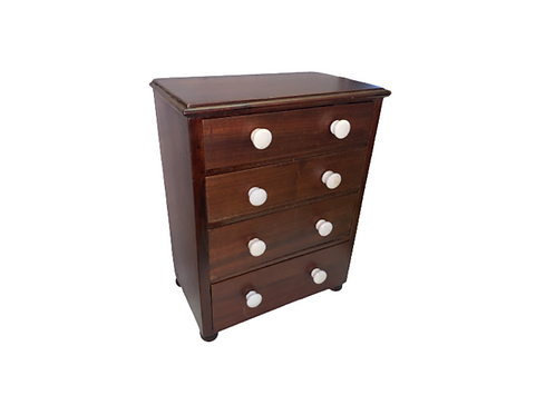 Miniature graduated four drawer mahogany chest