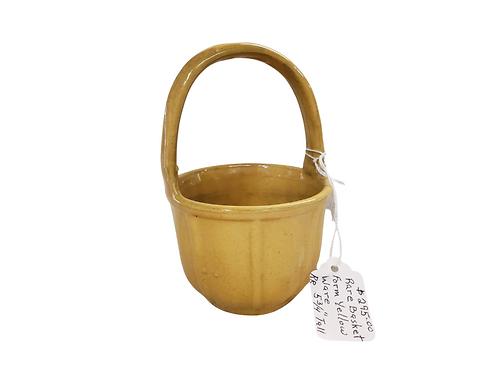 Yellow Ware Handled Basket