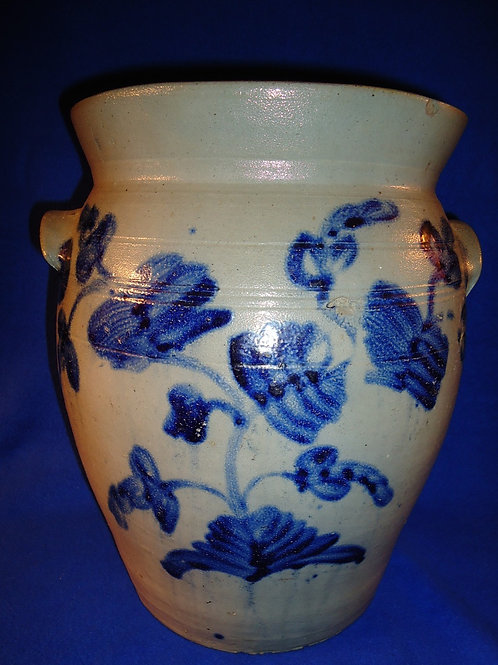 Circa 1840 4 Gallon Stoneware Jar with Plants from Baltimore, Maryland