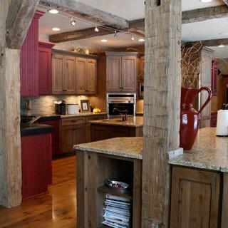 Barn wood beams close up from kitchen renovation