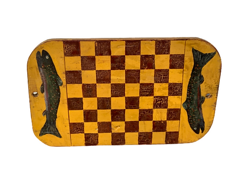 Folk Art multi colored game board with fish