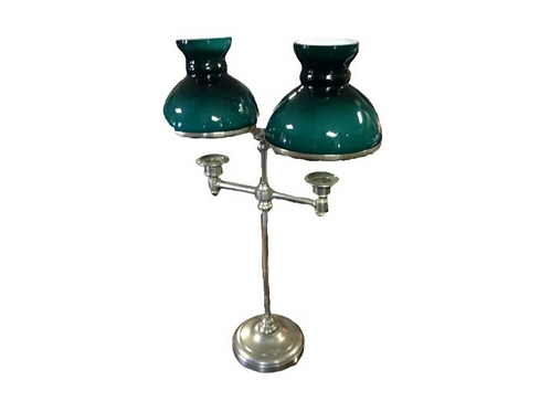 Candle table lamp with green sheds 19th century
