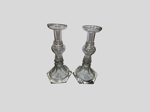 Pair of Pittsburgh clear tall candlesticks
