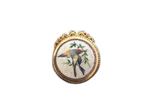 Micro mosaic bird brooch