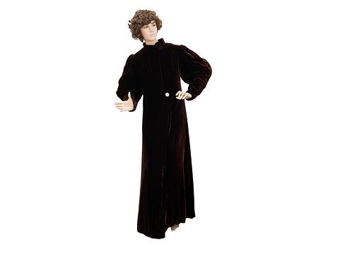 Chocolate Brown Silk Velvet Opera Coat