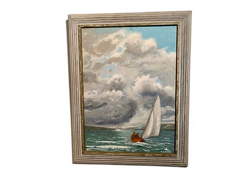 Oil on canaves of a landscape painting a sail boat on the lake C.1950s