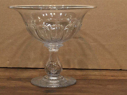 Blown molded glass compote