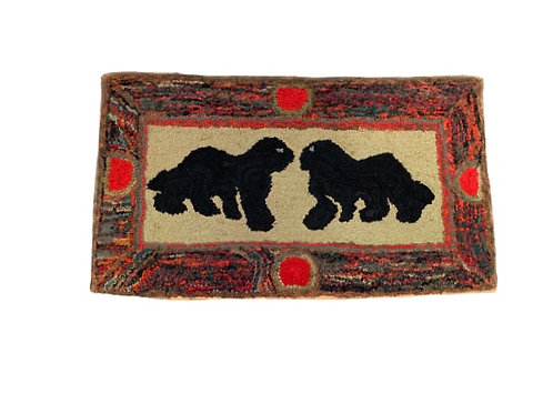 Hook rug pair of dogs