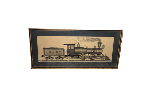 Folk art water color of a train