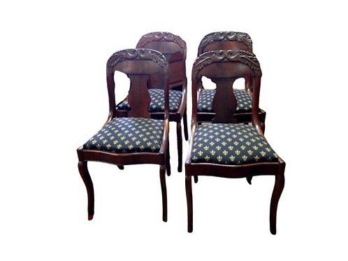 SET OF FOUR MAHOGANY CLASSICAL EMPIRE SIDE CHAIRS