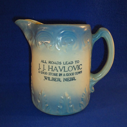 Havlovic, Wilber, Nebraska Blue and White Scroll and Leaf Pitcher