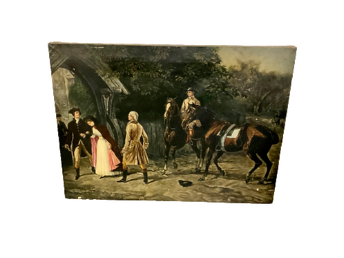 Large oil painting on canvas artist unknown of Alexander Hamilton his wife and A