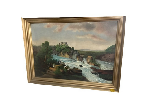 Oil on canvas landscape possibly Letchworth State Park N.Y. in a gold frame  19t