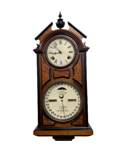 Walnut Ithaca calendar clock eight day time & strike