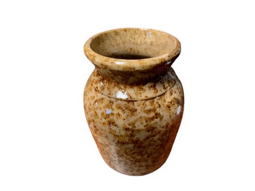 Yellow ware jar with brown spots & lid