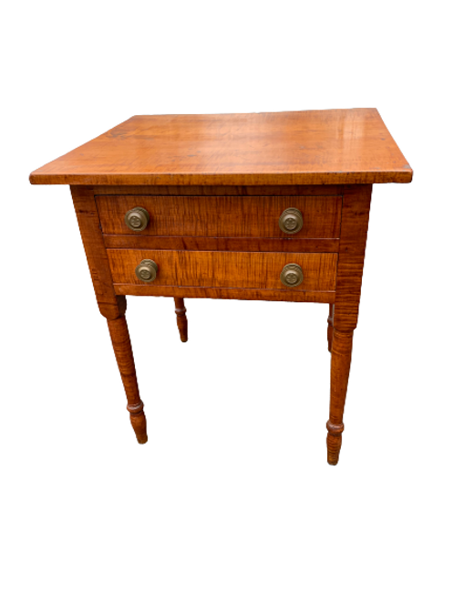 Federal tiger maple two drawer stand