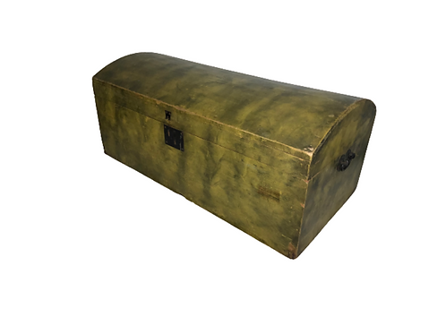 New England smoked painted yellow and black dome top box