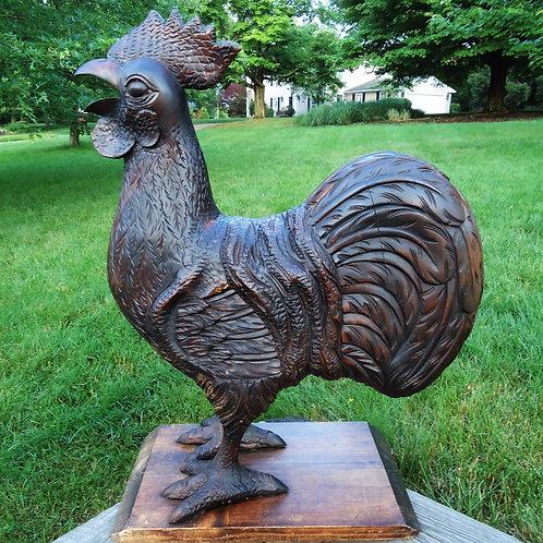 Folk Art Large Carved Wooden Rooster #4664