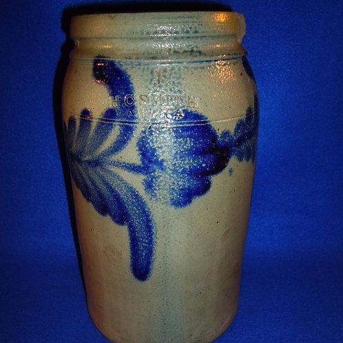 H. C. Smith, Alexandria, D. C. Stoneware 1 Gallon Jar with Tulips