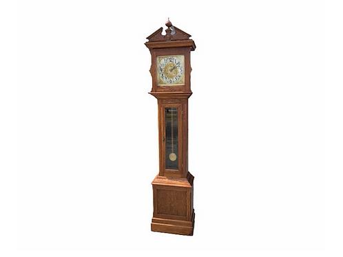Ithaca brass dial Oak Ithaca grandfather clock