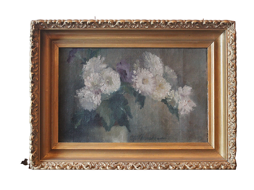 19th C. Floral still life signed oil on canvas.