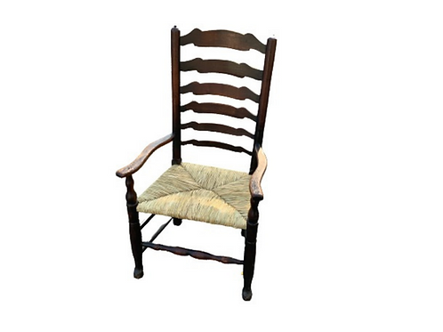 English farmhouse  6 slats oak letter back arm chair