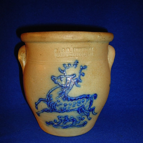 R. & B. Diebboll, Washington, Michigan Stoneware Small Ovoid Crock, Leaping Stag