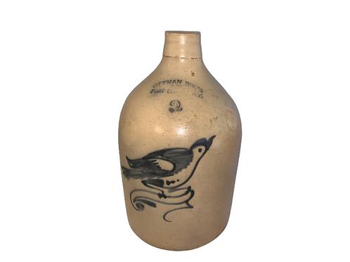 2 gallon stoneware jug with bird