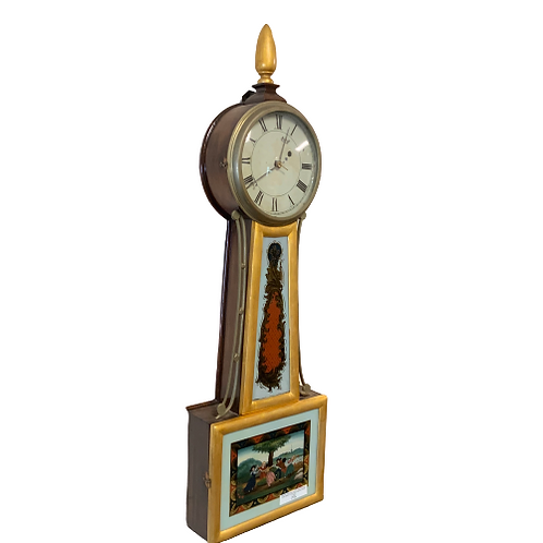 FEDERAL MAHOGANY & GILDED HANGING 8 DAY BANJO CLOCK