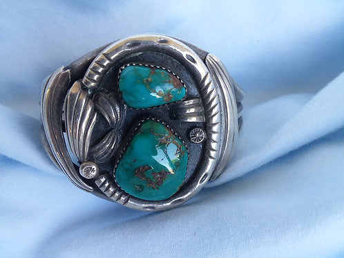 Sterling, Turquoise Navajo Bracelet, Mary S. Lew