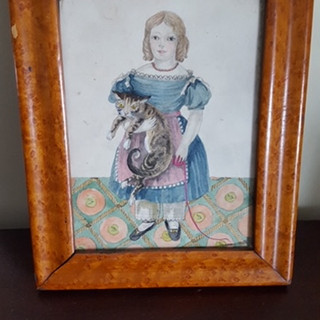 Watercolor and gouache a young girl and her cat. Fantastic detail. Circa 1830. 8 x 10 inches.