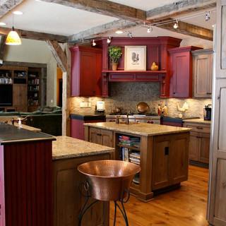 Kitchen renovation using reclaimed barn wood beams