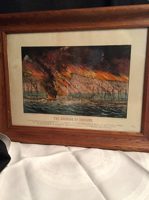 "original Currier and Ives print ""The Burning of Chicago"""