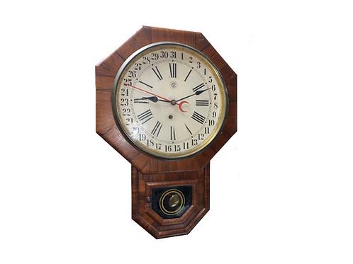 Rosewood Waterbury short drop schoolhouse calendar clock
