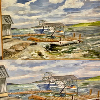 Oil painting on Masonite on Cayuga lake both #9