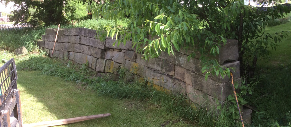 400-500 sq. ft. Of PA original weathered surface cut sandstone wall
