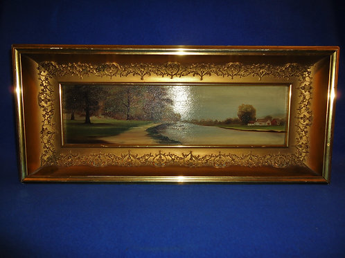 Mid-19th Century Fancy Guilded Frame with Oil Painting