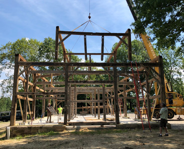 Timber frame barn project Canfield, Oho