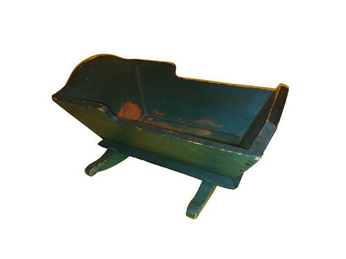 Pine doll cradle in original blue paint